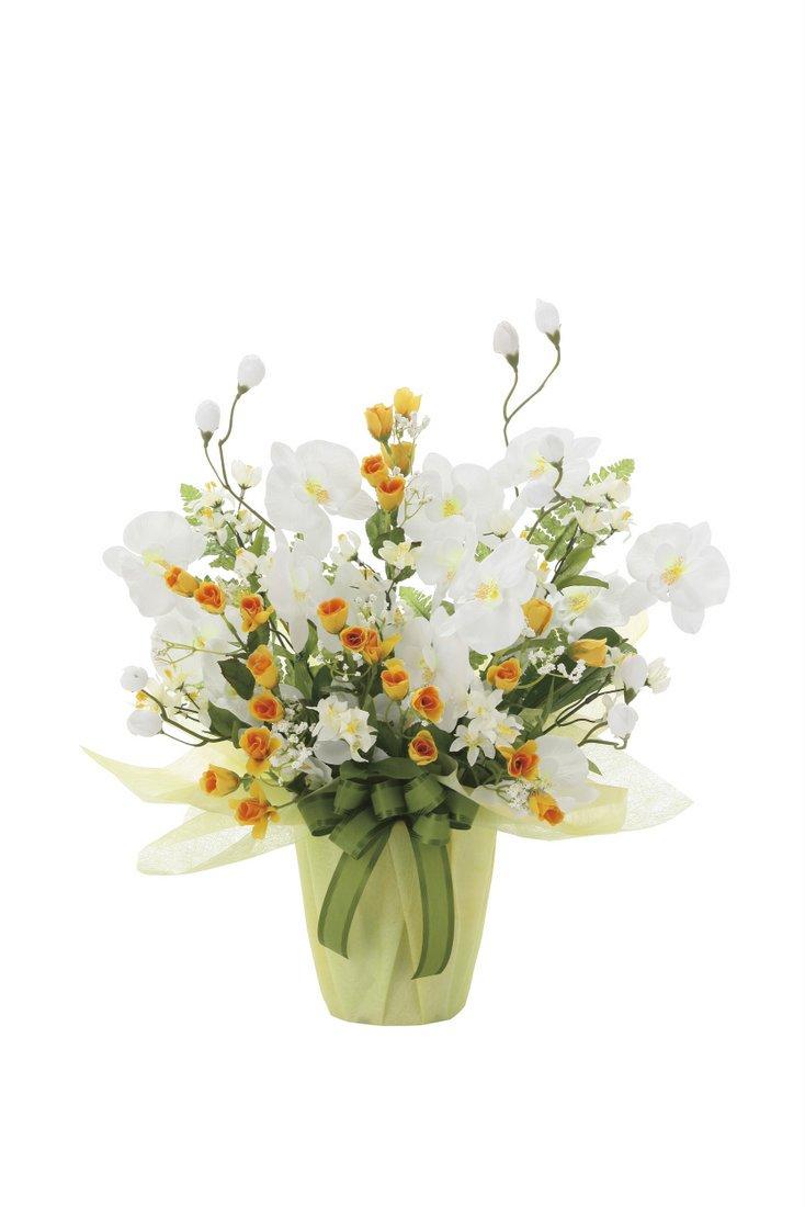 【アートフラワー 造花】メロ—ホワイト〔テーブルタイプ〕