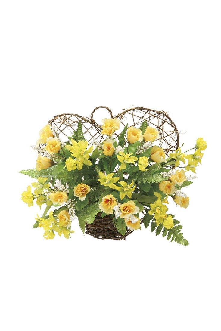 【アートフラワー 造花】ツインハ—ト〔壁掛けタイプ〕