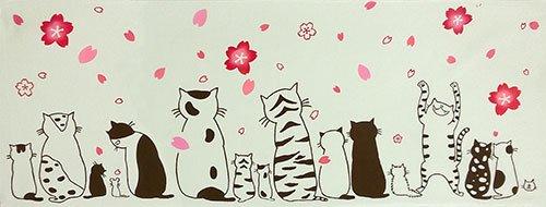 【絵てぬぐい ねこ】ネコたちの春【メール便】
