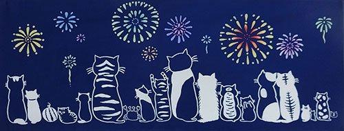 【絵てぬぐい ねこ】ネコたちの夏【メール便】