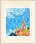 【絵画】はりたつお 聖ワシリイ大聖堂の空(ロシア)