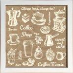 【アートフレーム】サインフレーム いつもいれたてあったかい コーヒーショップ 白 ゆうパケット