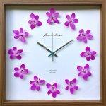 【時計】デンドロビウム クロック 紫