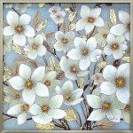 【絵画 油絵】オイル ペイント アート「ゴールデン ホワイト ブルーム」