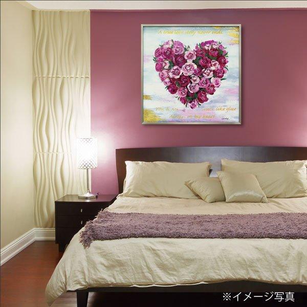 【絵画 油絵】オイル ペイント アート「ハート ローズ」