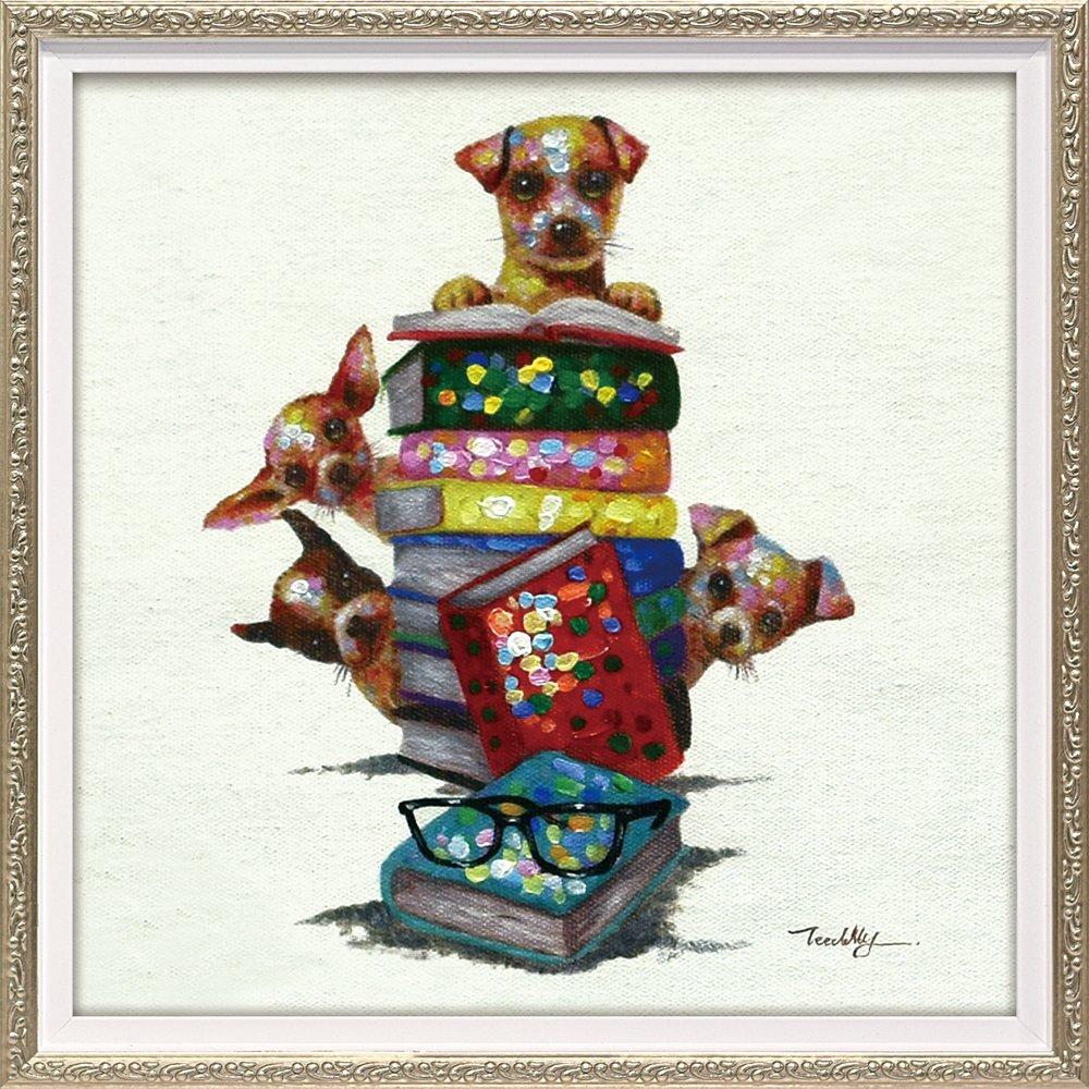 【絵画 油絵】オイル ペイント アート「ドッグ オン ブックス(Sサイズ)」