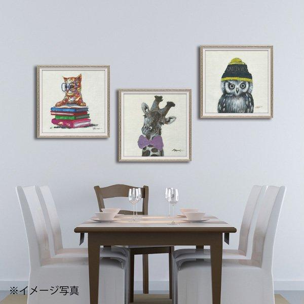 【絵画 油絵】オイル ペイント アート「キャット オン ブックス(Sサイズ)」