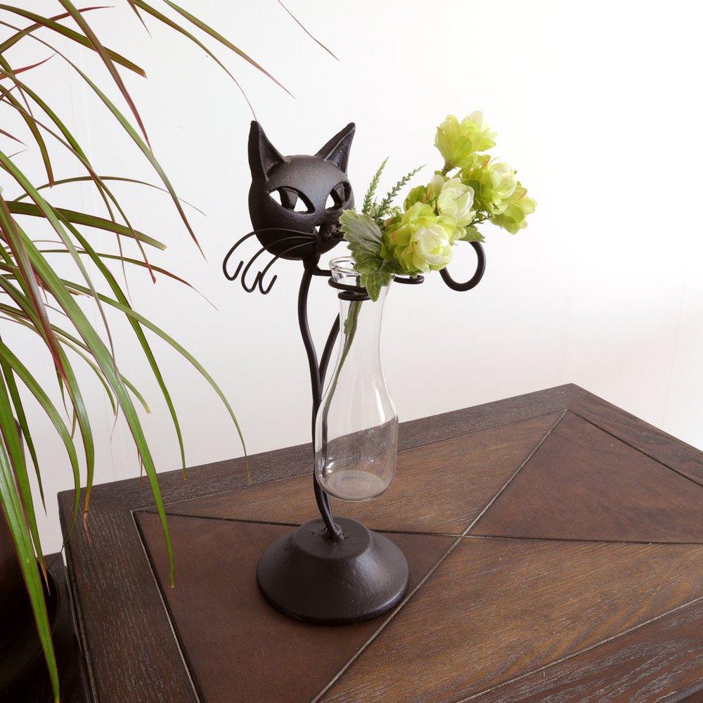 【花瓶】販促品、ノベルティーにも♪ 一輪挿し フラワーベース 花瓶 ネコ 黒 インテリア 壁掛け アート モダン おしゃれ シンプル モダン アジアン アンティーク