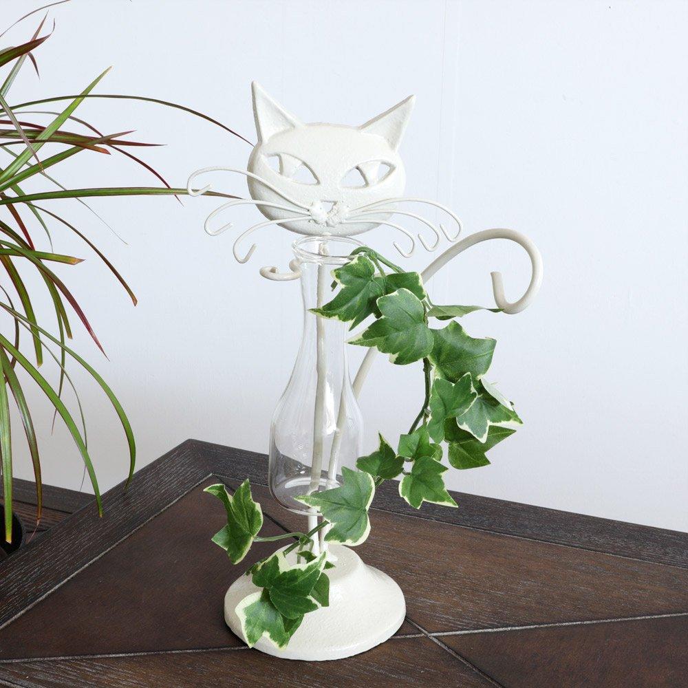 【花瓶】販促品、ノベルティーにも♪ 一輪挿し フラワーベース 花瓶 ネコ 白 インテリア 壁掛け アート モダン おしゃれ シンプル モダン アジアン アンティーク