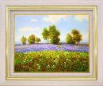 【手描き油絵】エマ ラベンダーの丘 F6 画家本人手描き絵画/額入り 絵画 絵