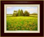 【手描き油絵】エマ サニーイエローの丘 F6 画家本人手描き絵画/額入り 絵画 絵