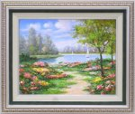 【手描き油絵】モリンガ 花畑に彩られて2 F10 画家本人手描き絵画/額入り 絵画 絵