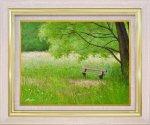 【手描き油絵】山野 法子 こもれ日のベンチ F6 画家本人手描き絵画/額入り 絵画 絵