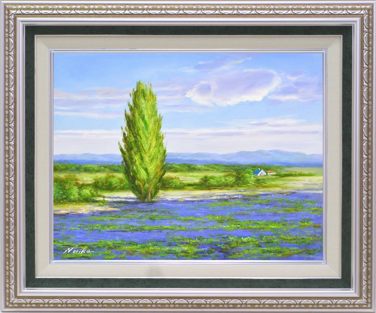 【手描き油絵】山野 法子 北のラベンダー畑 F6 画家本人手描き絵画/額入り 絵画 絵