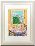 《水彩画・アートフレーム》パリの朝食 〔栗乃木ハルミ くりのき はるみ 〕