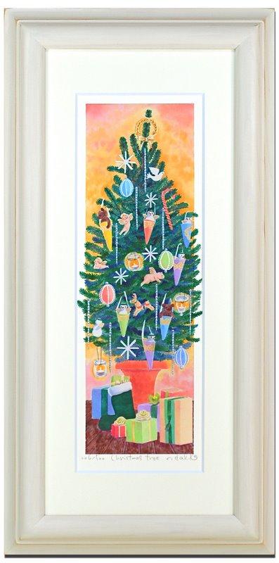 《水彩画・アートフレーム》Christmas tree 〔栗乃木ハルミ くりのき はるみ 〕