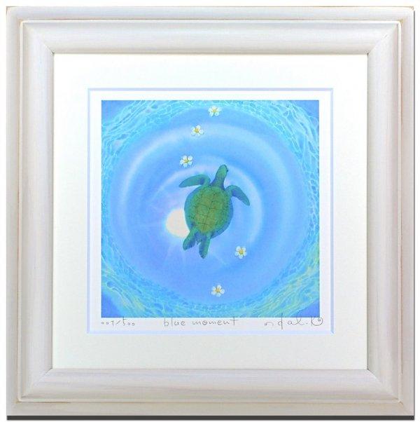 《水彩画・アートフレーム》blue moment 〔栗乃木ハルミ くりのき はるみ 〕