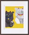 《絵画》米澤 彩 白黒招き猫