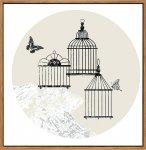 《キャンバスパネル》スカンジナビア イラストレーション 鳥かご2 (Scandinavian illustration CAGE 2)