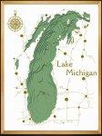 《アートフレーム》3Dマップアート ミシガン州 グリーンズ湖 (3D MAP ART Lake Michigan green)