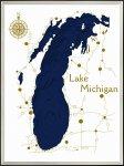 《アートフレーム》3Dマップアート ミシガン州 ブルー湖 (3D MAP ART Lake Michigan blue)