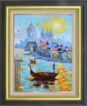 《手描き油絵》オイルペイントアート 岩井 景文 ベネチア F6 画家本人手描き絵画