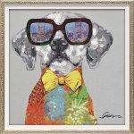 絵画 オイル ペイント アート「ビュー シティ ドッグ(Sサイズ)」/インテリア 犬 壁掛け 額入り 油絵 飾る