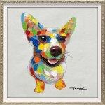 絵画 オイル ペイント アート「カラフル コーギー(Sサイズ)」/犬 壁掛け 額入り 油絵 ポスター おしゃれ
