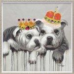 絵画 オイル ペイント アート「キング ブルドッグ(Mサイズ)」/インテリア 犬 壁掛け ポスター プレゼント