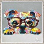 絵画 オイル ペイント アート「グリッター グラス(Mサイズ)」/犬 油絵 ポスター リビング 玄関 モダン