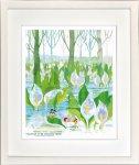 《絵画》昆虫物語みなしごハッチ 水芭蕉、雪解に咲く白い妖精(四ツ) はりたつお