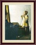 名画 油絵 真珠のネックレスを持つ少女 ヨハネス フェルメール 手彩仕上 高精細巧芸画 Mサイズ