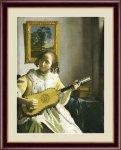 名画 油絵 ギターを弾く女 ヨハネス フェルメール 手彩仕上 高精細巧芸画 Mサイズ