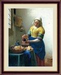 名画 油絵 牛乳を注ぐ女 ヨハネス フェルメール 手彩仕上 高精細巧芸画 Lサイズ