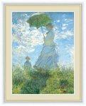 名画 油絵 散歩、日傘をさす女性 クロード モネ 手彩仕上 高精細巧芸画 Lサイズ