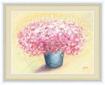 絵画 しあわせのブーケ 可愛いピンクのブーケ 洋美 手彩仕上 高精細巧芸画 Lサイズ