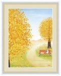 絵画 大きな木の風景 イチョウの木 鈴木 みこと 手彩仕上 高精細巧芸画 Mサイズ