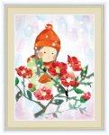 絵画 ほほえみの中のこどもたち 椿と少女 榎本 早織 手彩仕上 高精細巧芸画 Mサイズ