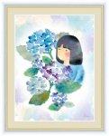 絵画 ほほえみの中のこどもたち 紫陽花と少女 榎本 早織 手彩仕上 高精細巧芸画 Lサイズ