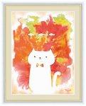 水彩画 ふわもこ癒やしの動物 ねこ 木下つぐみ 手彩仕上 高精細巧芸画 Mサイズ