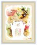 水彩画 ふわもこ癒やしの動物 くま 木下つぐみ 手彩仕上 高精細巧芸画 Lサイズ