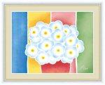 絵画 ちょっと気になる植物たち 青い花の鉢植え 春田 あかり 手彩仕上 高精細巧芸画 ゆうパケット Sサイズ