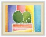 絵画 ちょっと気になる植物たち サボテンの寄せ植え 春田 あかり 手彩仕上 高精細巧芸画 Mサイズ