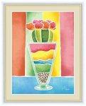 絵画 ちょっと気になる植物たち サボテンのグラス 春田 あかり 手彩仕上 高精細巧芸画 Lサイズ
