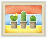 絵画 ちょっと気になる植物たち サボテンの鉢植え 春田 あかり 手彩仕上 高精細巧芸画 Lサイズ