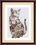 絵画 モノトーンアート Flower-Dog&Cat-  花 犬と猫 山口 美咲 手彩仕上 高精細巧芸画 Mサイズ