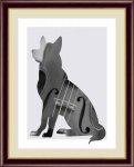 絵画 モノトーンアート Violin -Dog&Cat- ヴァイオリン 犬と猫 山口 美咲 手彩仕上 高精細巧芸画 Mサイズ