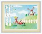 水彩画 風車のある風景 自転車と白樺 青木 奏 手彩仕上 高精細巧芸画 ゆうパケット Sサイズ