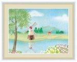水彩画 風車のある風景 チューリップ 青木 奏 手彩仕上 高精細巧芸画 Lサイズ