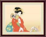 日本の名画 日本画 鼓の音 上村 松園 手彩仕上 高精細巧芸画 Mサイズ